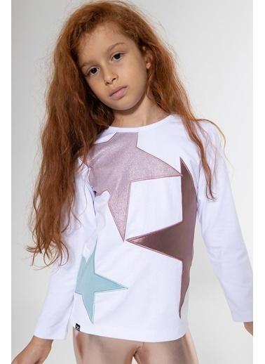 Colorinas Yıldız Patchli Sweatshirt Beyaz Beyaz